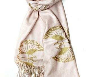 Silk Blend Scarab Scarf Pink/Gold