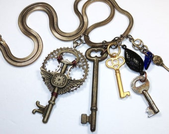 Steampunk Style Stitch Marker Pendant With Vintage Chain -- The Keeper of the Keys (Set-3)