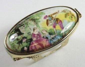 SJK Vintage -- Japan Signed Romantic Porcelain Scene Inset Floral Lipstick Compact Mirror (1950's-60's)