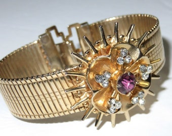 SJK Vintage -- Coro Signed Coroflex Gold Tone Bracelet with Sunburst and Rhinestones (1950's-60's)