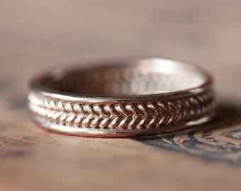 Mens rose gold wedding band, braided wedding band, mens rose gold ring, mens rose gold wedding ring, 14k rose gold wedding band, custom