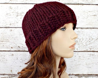 Red Womens Hat - Toque Beanie Hat Oxblood Wine Merlot Knit Hat Red Hat Red Beanie Womens Accessories Winter Hat