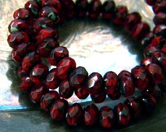 Cherry Tarts (30) -Czech Glass Rondelles 5x3mm