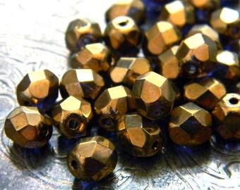 Cobalt Mysteria (30) -Czech Glass Faceted Rounds 6mm