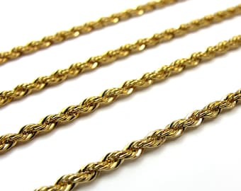 Vintage Gold Plated Rope Chain Necklaces- no clasp (15.75 inches) (2X) (C631)
