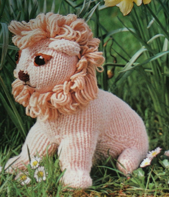 Knitting Pattern For A Toy Lion : Knitting Pattern Lion Toy FRENCH Worsted Weight Yarn Vintage
