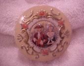 Vintage Tin - Made in England - Colonial Couple - Pink Roses - Gold - Nice!