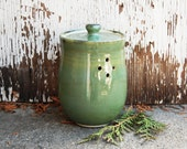 Large Handmade Mint Green Ceramic Garlic Container