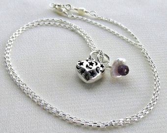 Amethyst Keshi Pearl Moon & Stars Heart Charm Necklace, Sterling Silver February Birthstone Valentine Day Gift for Her