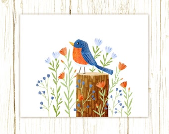 Eastern Bluebird Print -- bird art -- bird art 52 birds stephanie fizer coleman illustration blue orange