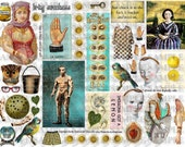 ART TEA LIFE Chuck Collage Sheet Journal Page Scrapbooking clip art Digital File paper doll card gift tag altered art parts adult content