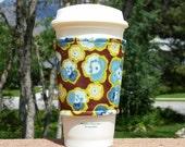 Fabric coffee cozy / cup sleeve / coffee sleeve / cup cozy / Blue Watercolor Pansies on Brown
