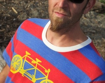 Tandem Bicycle Striped Tee Shirt Unisex Men