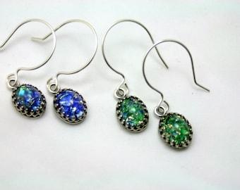 Choice Fire Opal Dangle Sterling Silver Earrings Midnight Blue Woodland Green Enchanting Petite Vintage