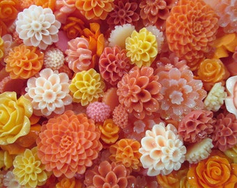 25pc. orange and peach flower cabochon mix,  cute grab bag of roses, mums etc...