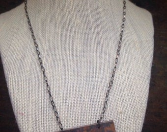 Rectangle hammered copper necklace