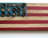 """ships FREE-original hand painted rustic wood folk art flag with antique & vintage metal bottle caps, approx. 26"""" long x 9"""" wide x 1"""" deep"""