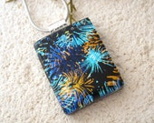 Black, Blue, Gold, Dichroic Jewelry, Fireworks Necklace, Fused Dichroic Glass Pendant, Dichroic Pendant, Silver Necklace  031615p103