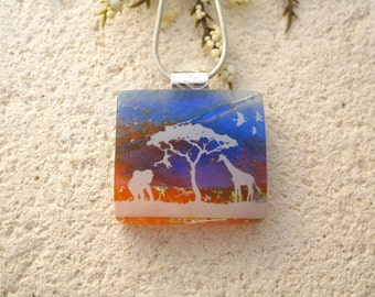 Elephant Giraffe Jungle, Petite Dichroic Glass Jewelry, Safari Dichroic Pendant -  Dichroic Fused Glass Jewelry - Safari Necklace 021115p101