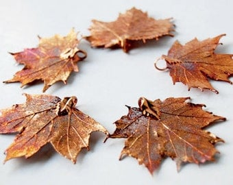 "FIVE Copper REAL Maple Leaf Pendants - 2"" to 2.25"" wide  - Asymmetrical-"