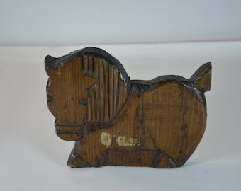 vintage antique hand carved wooden horse bookend