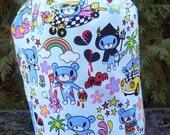 Teddy knitting project bag, WIP bag, drawstring bag, crochet project bag Kawaii Teddy's Adventures,, Suebee