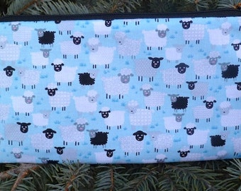 Sheep crochet hook case, pencil case, zippered bag, knitting notion pouch, Little Sheep pink or blue, The Deep Scribe
