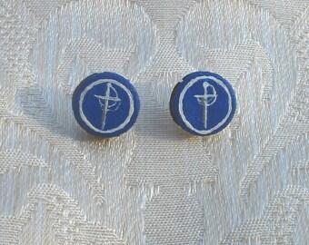 SCA Order of the Silver Rapier handpainted leather stud earrings