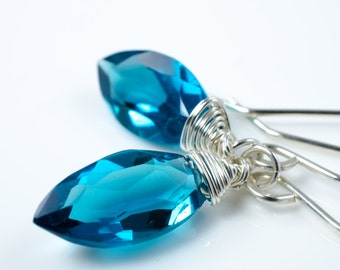 London Blue Quartz Marquis Briolette Sterling Silver Earrings