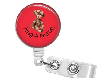 HUG A NURSE Sock Monkey Retractable Badge Reel