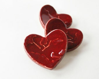 Wee Clay Hearts for Gifting or Decoration - For Him and Her - Fun Set of 3 Hearts - ready to ship