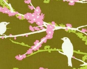FQ Joel Dewberry Fabric, Aviary, Sparrows, Green