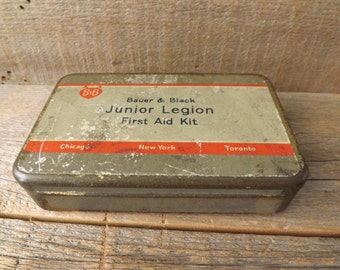 Vintage First Aid Kit, Bauer and Black, Junior Legion, Old Advertising Tin, Medical Collectible, Vintage Medical Supplies, Vintage Medicine