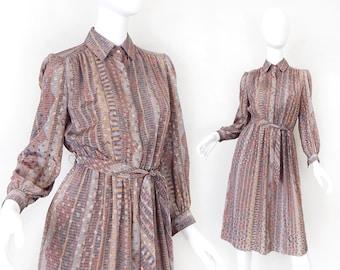 80s Abstract Print Shirt Dress - Women's Silky Belted Secretary Dress in Subtle Desert Hues- Size 6 Petite