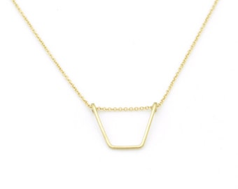 Geometric Trapezoid Chevron necklace - minimal layering necklace - simple geo necklace - v necklace - u necklace - delicate gold filled wire