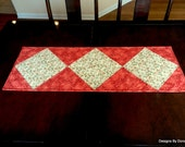 Quilted Table Runner, Reversible Table Topper, Dogwood Blossoms & (Tone on Tone) Red, Handmade, One of a Kind, OOAK, Handmade Table Linens
