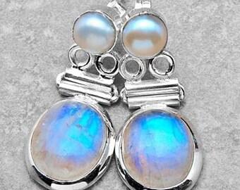 Sale: Moonstone and Pearl Sterling Silver Earrings
