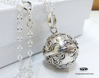 Maternity Necklace Mexican Bola Harmony Ball Mums Flowers 36 inches Chain 925 Sterling Silver P81CH67