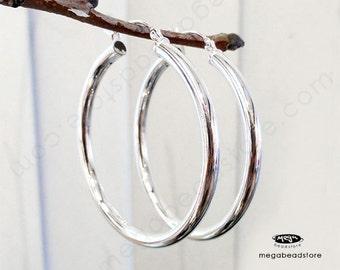 "3mm Thick 40mm (1.57"") Across Hoop Earring Sterling Silver F443 -1 pr"