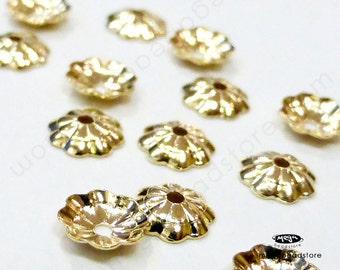 24 pcs 5mm Flower Gold Filled Bead Caps 14K GF Caps C95GF