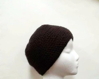 Brown skullcap, warm hat, hand knitted  4916