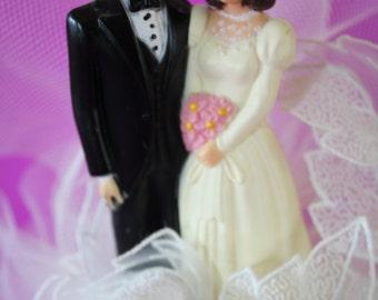VINTAGE wedding cake top of bride and groom