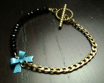 Turquoise Blue and Black Crystal Itty Bitty Bow Bracelet