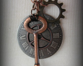 Pewter Roman Numeral Clockface Steampunk Necklace