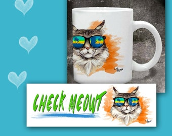 CAT MUG -Check Meowt. Cool Cat in Sunglasses. Cat Coffee Mug