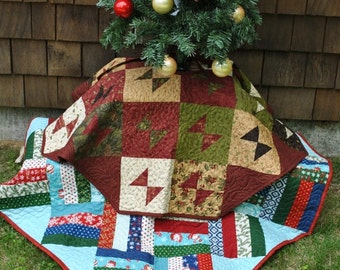Patchwork Christmas Tree Skirt TWO designs in one pattern. Layer Cake, Jelly Roll and Fat Quarter Friendly