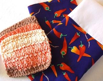 Mexican Kitchen//Chili Pepper Decor//Crochet Wash Clothes//Cocina