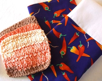 Mexican Chili Peppers, Mexican Tea Towels, Crochet Wash Cloth, Chili Pepper Fabric, Cotton Tea Towels, Mexican Decor, Mexican Folk Art