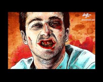 "Print 11x17"" - The Narrator - Fight Club Edward Norton Brad Pitt Helena Bonham Carter Pop Dark Art Lowbrow Art Tyler Durden Blood Teeth"