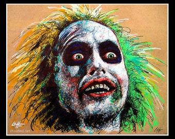 "Print 11x14"" - Beetlejuice - Horror Comedy Tim Burton Gothic Halloween Dark Art Funny Spooky Creepy Classic Portrait Pop Art 80s Lowbrow Art"